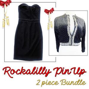 Two Piece Bundle LAMB Dress + 50s Vtg Cardigan